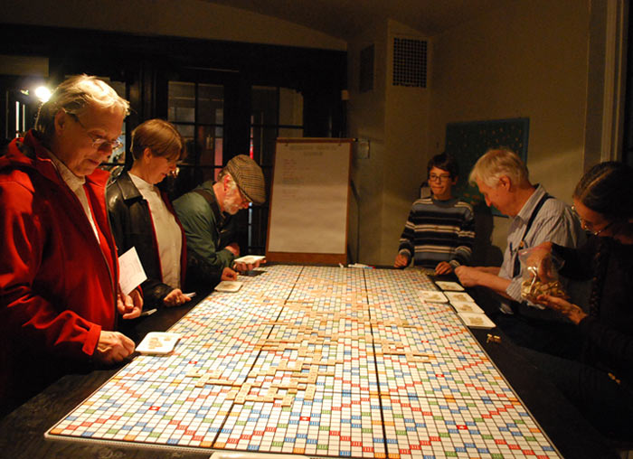 John Shipman, Ten Models of the Universe: Giant Word Game Model of the Universe played across 24 Scrabble boards, 2013